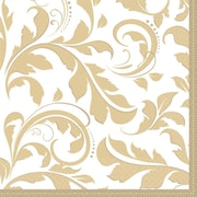Amscan 50th Anniversary Elegant Scroll Gold Lunch Napkins, 6.5''L x 6.5''W, 8/Pack, 16 Per Pack (513851)