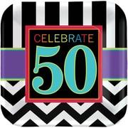 Amscan 7''L x 7''W Square 50th Celebration Paper Plates, 8/Pack, 8 Per Pack (541367)
