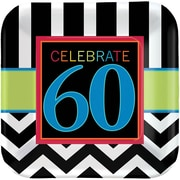 Amscan 7'' x 7'' 60th Celebration Square Paper Plates, 8/Pack, 8 Per Pack (541368)