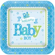 Amscan 7'' x 7'' Welcome Little One Baby Shower Boy Square Paper Plates, 8/Pack, 8 Per Pack (541461)