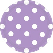 Amscan Polka Dots 7'' Lavender Round Paper Plates, 8/Pack, 8 Per Pack (541537.04)