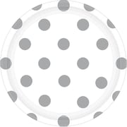 Amscan 7'' White Polka Dots Round Paper Plates, 8/Pack, 8 Per Pack (541537.08)
