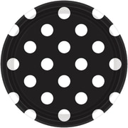Amscan Polka Dots 7'' Jet Black Round Paper Plates, 8/Pack, 8 Per Pack (541537.1)