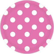Amscan Paper Plates, 7''W Round, Bright Pink Polka Dots, 8/Pack, 8 Per Pack (541537.103)
