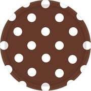 Amscan Polka Dots 7'' Chocolate Brown Round Paper Plates, 8/Pack, 8 Per Pack (541537.111)