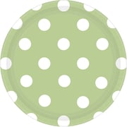Amscan 7'' Leaf Green Polka Dots Round Paper Plates, 8/Pack, 8 Per Pack (541537.115)