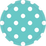 Amscan 7'' Robin's Egg Blue Polka Dots Round Paper Plates, 8/Pack, 8 Per Pack (541537.121)