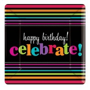 Amscan Party On Celebration 7''W x 7''H Square Paper Plates, 8/Pack, 8 Per Pack (543678)
