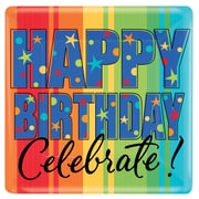 Amscan 'Happy Birthday, A Year to Celebrate' Square Paper Plates, 7''L x 7''W, 8/Pack, 8 Per Pack (549798)
