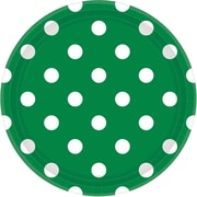 Amscan 9'' Festive Green Polka Dots Round Paper Plates, 8/Pack, 8 Per Pack (551537.03)