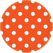 Amscan Polka Dots 9'' Orange Peel Round Paper Plates, 8/Pack (551537.05)