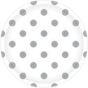 Amscan 9'' White Polka Dots Round Paper Plates, 8/Pack, 8 Per Pack (551537.08)