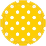 Amscan 9'' Sunshine Yellow Polka Dots Round Paper Plates, 8/Pack, 8 Per Pack (551537.09)