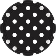 Amscan Polka Dots 9'' Jet Black Round Paper Plates, 8/Pack, 8 Per Pack (551537.1)