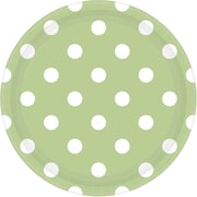 Amscan 9'' Leaf Green Polka Dots Round Paper Plates, 8/Pack, 8 Per Pack (551537.115)