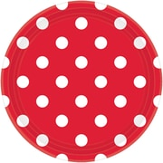 Amscan Polka Dots 9'' Apple-Red Round Paper Plates, 8/Pack, 8 Per Pack (551537.4)