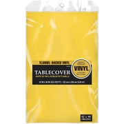 "Amscan Flannel-Backed Vinyl Table Cover, 52"" x 90"", Yellow, 3/Pack (579590.09)"