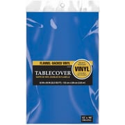 "Amscan Flannel-Backed Vinyl Table Cover, 52"" x 90"", Royal Blue, 3/Pack (579590.105)"
