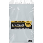 "Amscan 52"" x 90"" Silver Flannel-Backed Vinyl Table Cover, 3/Pack (579590.18)"