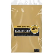 "Amscan Flannel-Backed Vinyl Table Cover, 52"" x 90"", Gold, 3/Pack (579590.19)"