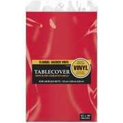 "Amscan 52"" x 90"" Red Flannel-Backed Vinyl Table Cover, 3/Pack (579590.4)"