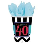 Amscan 9oz, Striped 40th Celebration Paper Cups, 8/Pack, 8 Per Pack (581366)