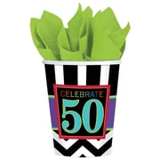 Amscan 9oz Striped 50th Celebration Paper Cup, 8/Pack, 8 Per Pack (581367)