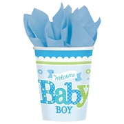 Amscan Woodland Welcome Baby Shower Boy 9oz Blue/White Paper Cup, 8/Cup, 8 Per Pack (581461)
