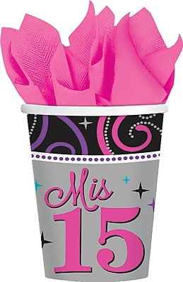 Amscan 9oz Multicolored Mis Quince Anos Paper Cups, 8/Pack, 8 Per Pack (581838) 1969727