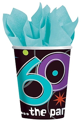 Amscan The Party Continues - 60 9oz Paper Cups, 8/Pack, 8 Per Pack (589797) 1969717