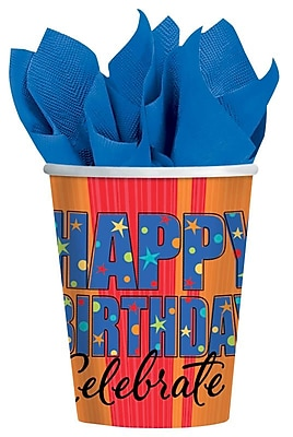 Amscan A Year To Celebrate Happy Birthday 9oz Paper Cups, 8/Pack, 8 Per Pack (589798) 1969716