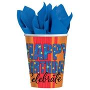 Amscan A Year To Celebrate Happy Birthday 9oz Paper Cups, 8/Pack, 8 Per Pack (589798)
