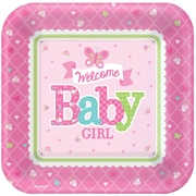 """Amscan 10""""L x 10""""W 'Welcome Little One' Girl Baby Shower Square Paper Plates, 8/Pack, 8 Per Pack (591458)"""