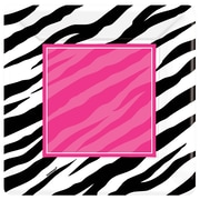 Amscan 10'' x 10'' Zebra Party Square Paper Plates, 8/Pack, 8 Per Pack (593672)
