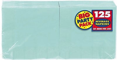 """""Amscan Big Party Pack Napkins, 5"""""""" x 5"""""""", Robins Egg Blue, 6/Pack, 125 Per Pack (600013.121)"""""" 1970023"