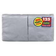 """Amscan Big Party Pack Napkins, 5"""" x 5"""", Silver, 6/Pack, 125 Per Pack  (600013.18)"""