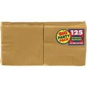 """Amscan Big Party Pack Napkins, 5"""" x 5"""", Gold, 6/Pack, 125 Per Pack  (600013.19)"""