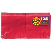 """Amscan Big Party Pack Napkins, 5""""L x 5""""W, Apple Red, 6/Pack, 125 Per Pack (600013.4)"""