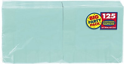 """""Amscan Big Party Pack Napkins, 6.5"""""""" x 6.5"""""""", Robins Egg Blue, 4/Pack, 125 Per Pack (610013.121)"""""" 1970610"
