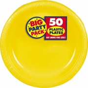 "Amscan Big Party Pack 7"" Sunshine Yellow Round Plastic Plates, 3/Pack, 50 Per Pack (630730.09)"