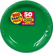 """Amscan Big Party Pack 10.25"""" Green Round Plastic Plate, 2/Pack, 50 Per Pack (630732.03)"""