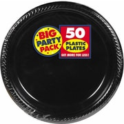 "Amscan 10.25"" Black Big Party Pack Round Plastic Plate, 2/Pack, 50 Per Pack (630732.1)"