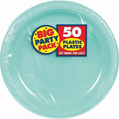 """""Amscan 10.25"""""""" Robin's Egg Blue Big Party Pack Round Plastic Plate, 2/Pack, 50 Per Pack (630732.121)"""""" 1970460"