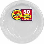 "Amscan 10.25"" Silver Big Party Pack Round Plastic Plate, 2/Pack, 50 Per Pack (630732.17)"