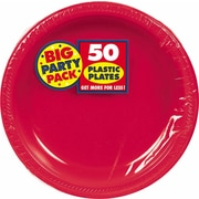 "Amscan Big Party Pack 10.25""W Round, Apple Red Plastic Plate, 2/Pack, 50 Per Pack (630732.4)"