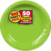 """Amscan 10.25"""" Kiwi Big Party Pack Round Plastic Plate, 2/Pack, 50 Per Pack (630732.53)"""