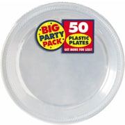 "Amscan 10.25"" Clear Big Party Pack Round Plastic Plate, 2/Pack, 50 Per Pack (630732.86)"