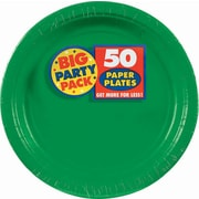"Amscan 7"" Festive Green Big Party Pack Round Paper Plates, 6/Pack, 50 Per Pack (640013.03)"