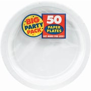 "Amscan 7"" White Big Party Pack Round Paper Plates, 6/Pack, 50 Per Pack (640013.08)"