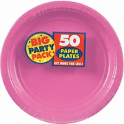"""Amscan Big Party Pack 7"""" Bright Pink Round Paper Plates, 6/Pack, 50 Per Pack (640013.103)"""